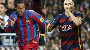 Iniesta emuló a Ronaldinho tras recibir los aplausos del Bernabéu