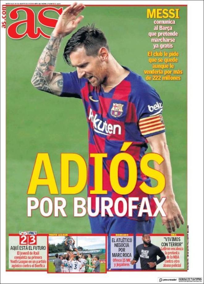 La portada del diario AS del 26 de agosto