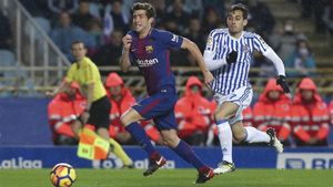 Sergi Roberto durante el partido contra el Espanyol