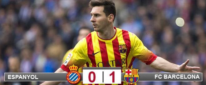 Messi, celebrando su gol en Cornellà-El Prat