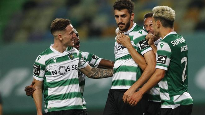 Paulinho celebra el 1-0 del Sporting ante el Boavista