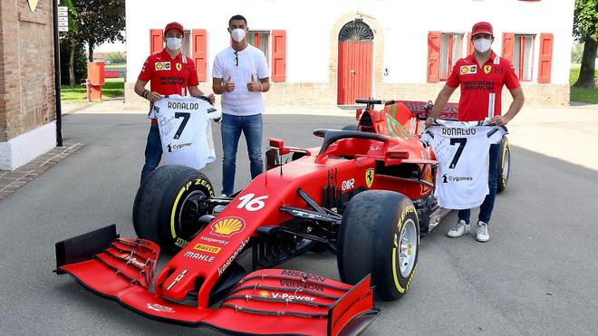 Leclerc y Sainz junto a Cristiano