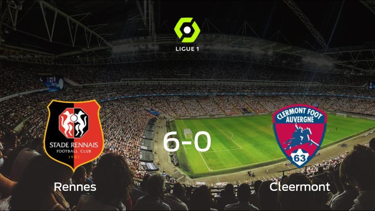 El Stade Rennes consigue los tres puntos en casa tras pasar por encima del Clermont Foot (6-0)