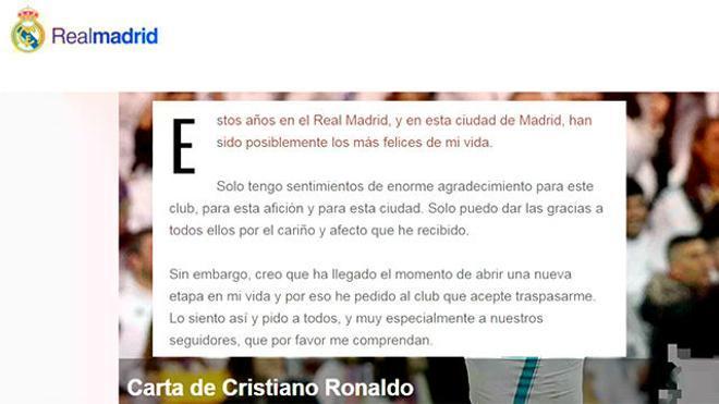 La carta de despedida de Cristiano Ronaldo a la afición del Madrid
