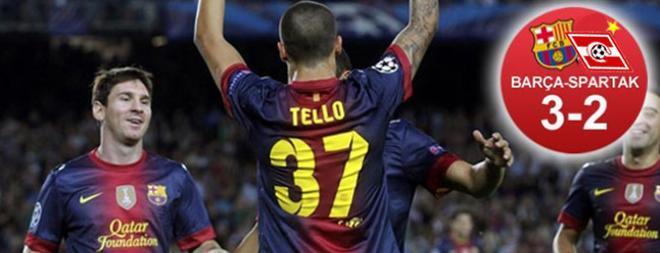 Tello y Messi salvaron al Barça