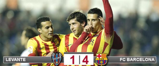 Cristian Tello se convirtió, junto a Leo Messi, en el gran protagonista del triunfo del Barça en campo del Levante que sitúa al equipo de Martino, prácticamente, en las semifinales de la Copa