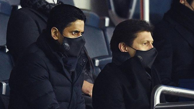Nasser Al-Khelaifi y Leonardo, en el palco durante el PSG- FC Barcelona
