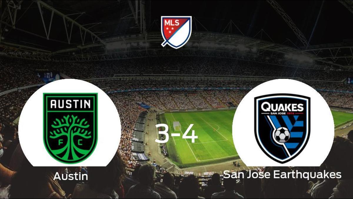 El San Jose Earthquakes suma tres puntos a su casillero frente al Austin FC (3-4)