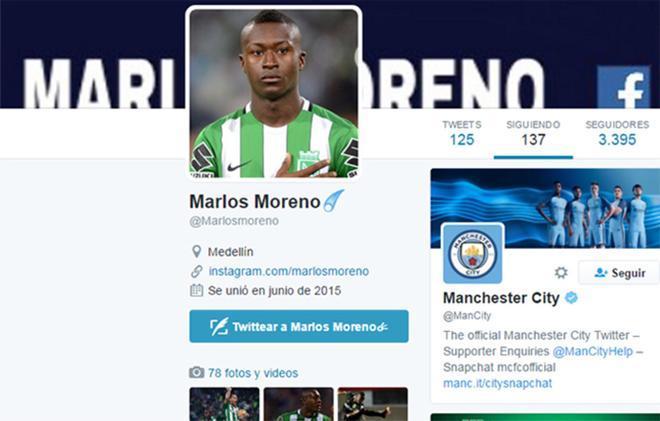 Marlos Moreno empezó a seguir al Manchester City