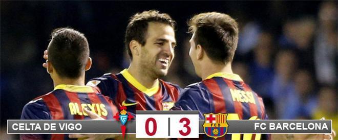 Cesc celebra su gol con Messi y Alexi, otro de los goeladores en Balaídos. El Barça no tuvo piedad del Celta