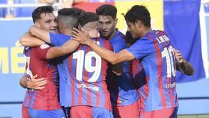 El Barça B, celebrando un gol ante el Andorra