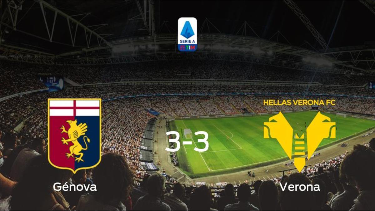 El Génova y el Hellas Verona reparten los puntos tras empatar a tres