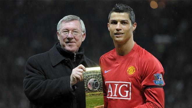 Ferguson y Cristiano, en 2008