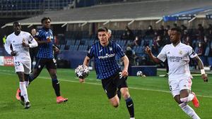 Vinicius y Mendy, en la ída del Atalanta - Real Madrid