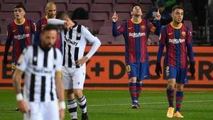 Messi celebtra el gol marcado ante el Levante
