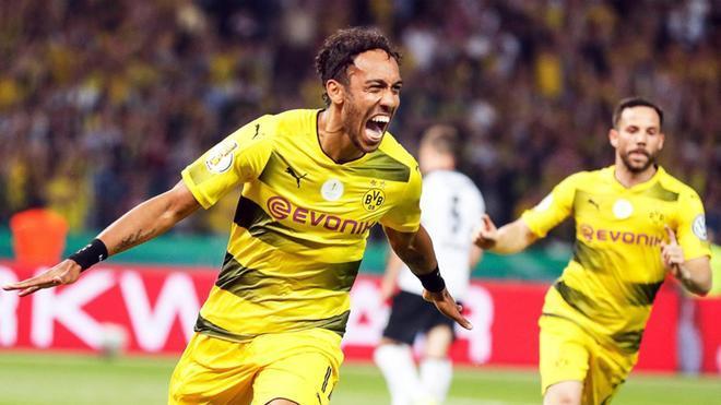 Aubameyang, celebrando el gol de la victoria del Borussia Dortmund