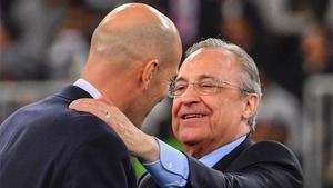 Zinedine Zidane y Florentino Pérez, en una imagen de archivo