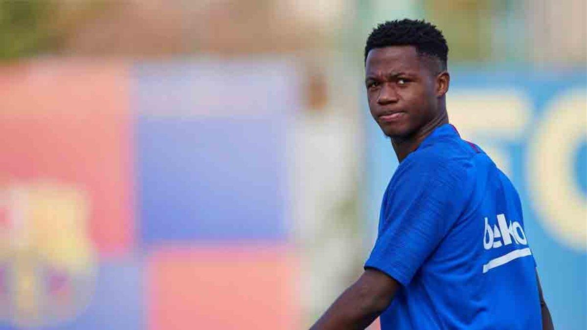 Ansu Fati participó en el entrenamiento