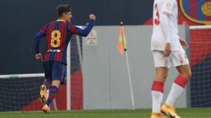 El golazo de Gavi con el Juvenil A ante el Atlético Villacarlos
