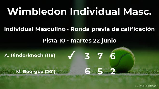 Arthur Rinderknech gana en la ronda previa de calificación de Wimbledon