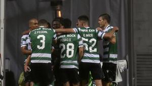 Los jugadores del Sporting celebran un gol ante el Braga
