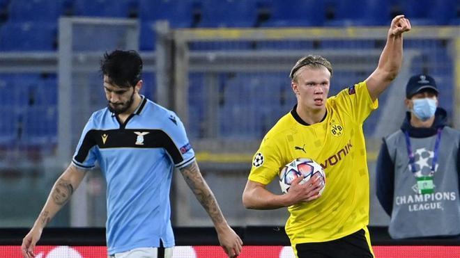 Haaland marcó en el debut del Borussia Dortmund en Champions League que acabó con derrota frente a la Lazio (3-1)