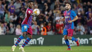 Ansu ha sido el mejor del primer tiempo en el Camp Nou