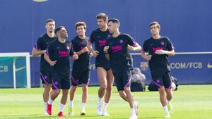 Futbolistas del Barça durante un entreno