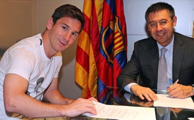 Messi firmó su penúltima renovación en mayo de 2014