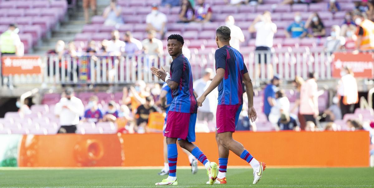 Ansu Fati volvió a disfrutar sobre el césped del Camp Nou