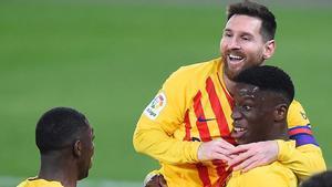 Ilaix celebró el gol junto a Messi, que le dio la asistencia