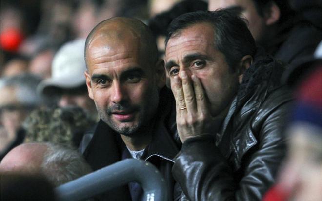 Guardiola junto a Estiarte, en el Camp Nou