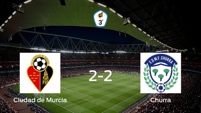 El Ciudad de Murcia y el Churra se reparten los puntos tras su empate a dos