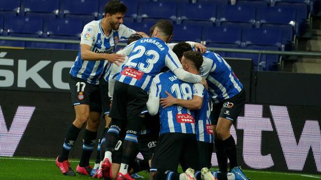 Los jugadores del Espanyol, celebrando uno de los goles contra el Leganés