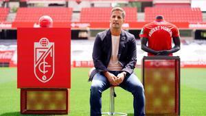 Robert Moreno, en la presentación como nuevo entrenador del Granada