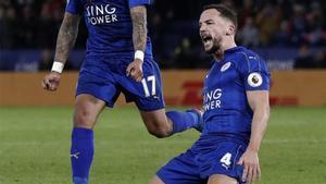 Drinkwater celebra un gol con el Leicester