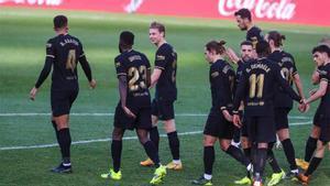 Los jugadores del Barça celebrando el gol