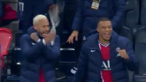 Neymar y Mbappé al final del PSG-RB Lepizig de la Champions 2020/21