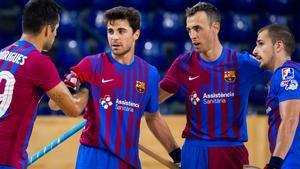 Los jugadores del FC Barcelona de hockey patines en el Palau