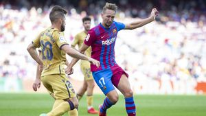Luuk de Jong, autor del 2-0 del FC Barcelona contra el Levante UD