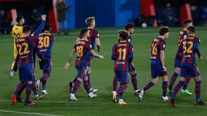 El Barça B, en el partido ante el Badalona