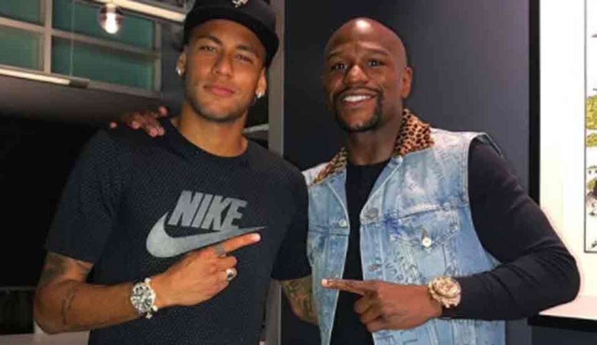 Neymar, junto a Floyd Mayweather