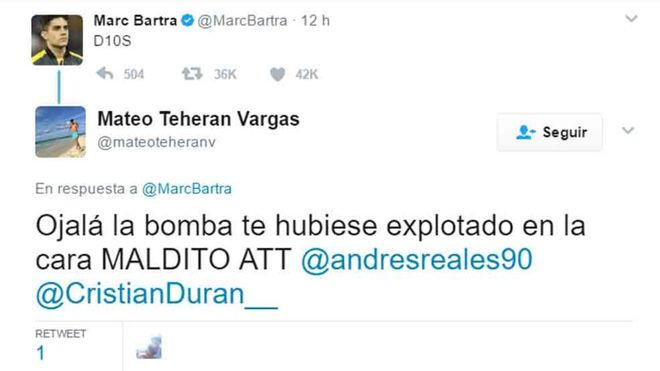 Este es el lamentable y denunciable mensaje a Marc Bartra