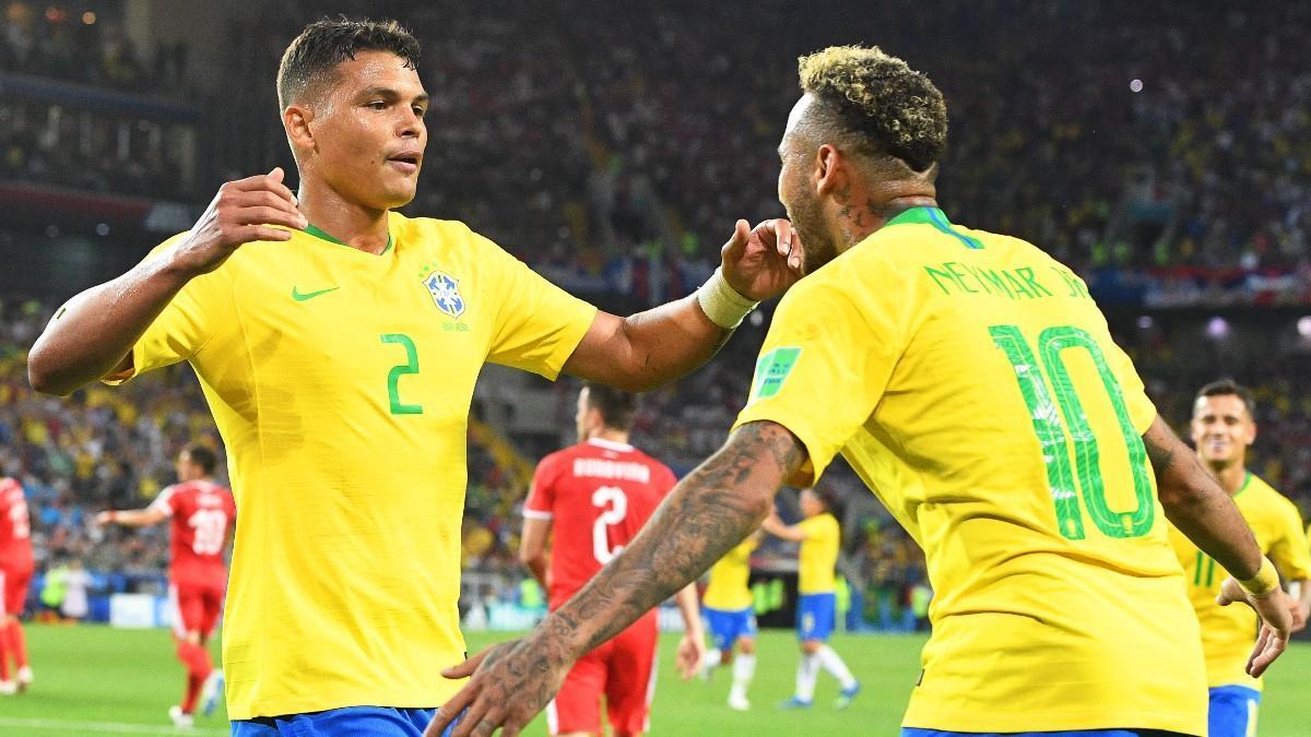 Thiago Silva y Neymar, con la canarinha