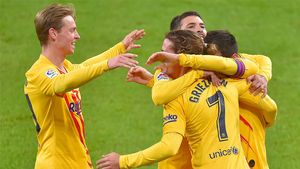 Los jugadores del Barça celebrando el segundo gol de Messi ante el Athletic