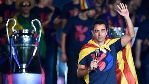 Xavi Hernández en su última celebración con el FC Barcelona
