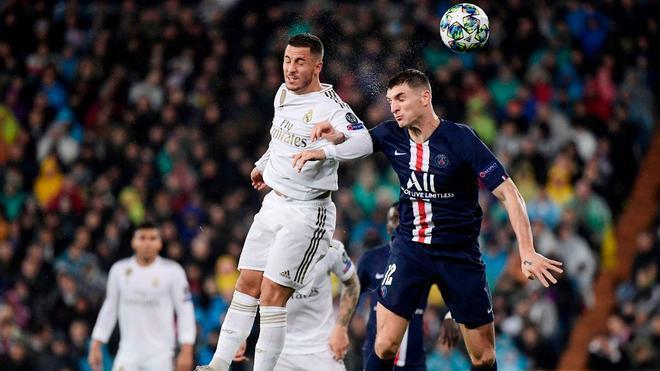 Meunier y Hazard, en una acción del Real Madrid-PSG