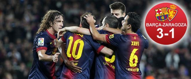 El Barça ganó 3-1 al Zaragoza