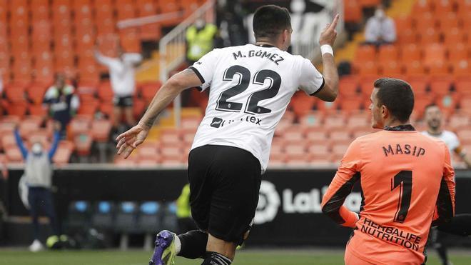 Maxi Gómez celebrando un gol frente al Valladolid