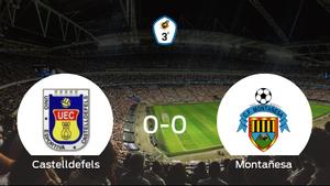 El Castelldefels y el Montañesa no encuentran el gol y se reparten los puntos (0-0)